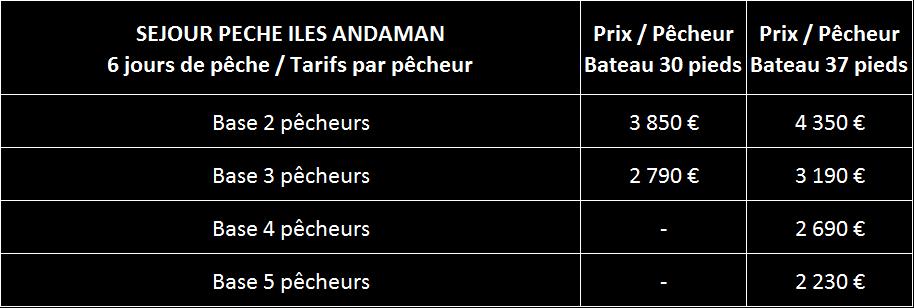 Tarifs Andaman pêche 2015