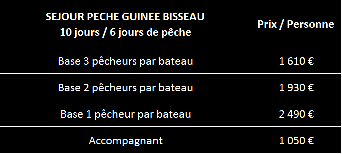 Tarifs peche Guinee Bisseau