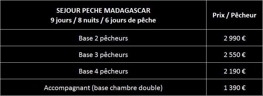 Tarifs peche Madagascar